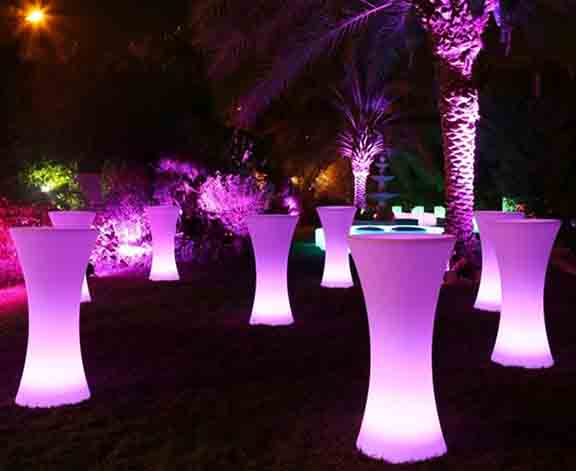 Goglow party hire glowing tables for hire sunshine coast for Cocktail tables led